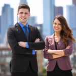 Business finance people posing portrait successful on building roof