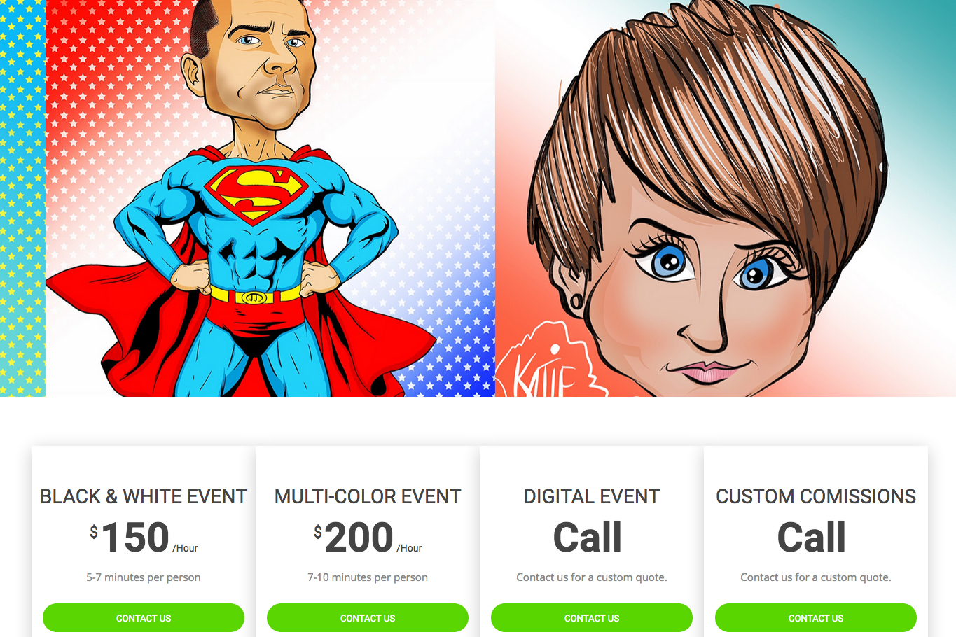 Tulsa Caricatures - Web Design