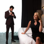 Model Allee Sutton and Stephen Richards getting dressed at The Thompson Hotel Nashville.