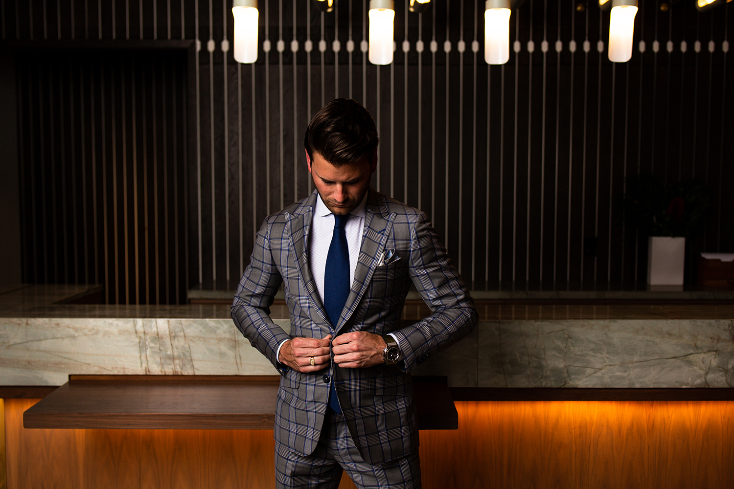 Stephen wearing a custom suit designed by Richards Bespoke at The Thompson Hotel Nashville