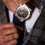 Hublot big gang on mans wrist wearing a Richards Bespoke suit.