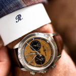 Bell and Ross mens watch on wrist of man wearing custom suit designed by Richards Bespoke
