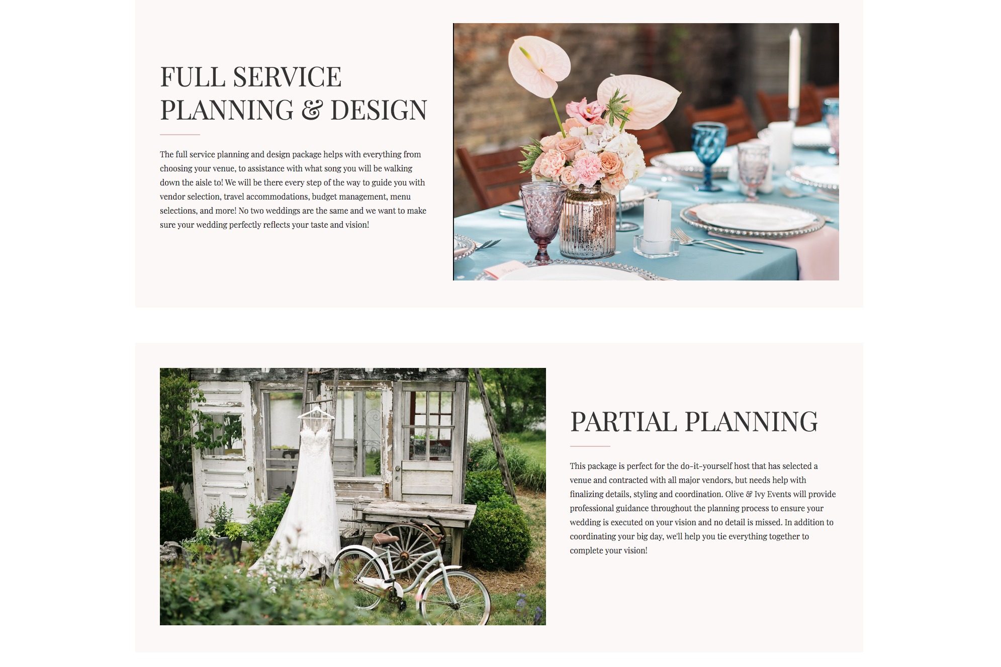 Olive & Ivy Events - Web Design