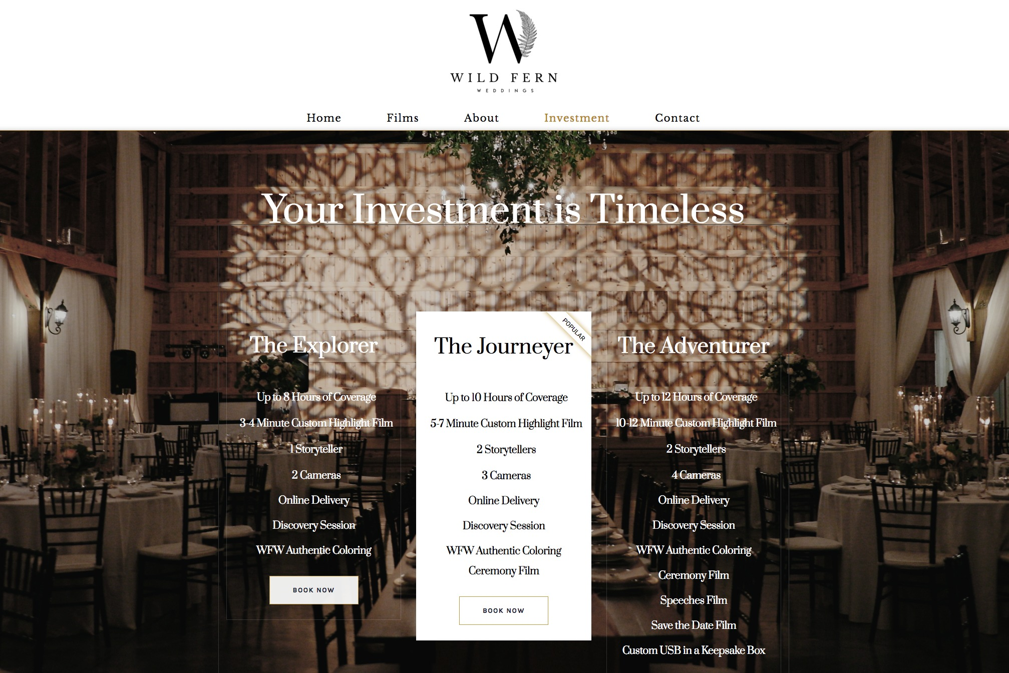 Wild Fern Weddings - Web Design